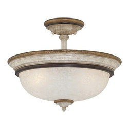 "Minka Lavery - Minka Lavery 1298-580 Provence Patina Accents Provence Tuscan 3 Light - Three Light Semi Flush Ceiling Fixture with White Patina Glass from the Accents Provence CollectionExtraordinary hand painted lighting rich in historical detail. An exquisite example of classical grace. This collection recalls the style and romance of the French countryside. The finely proportioned arms and perfectly detailed wood grained columns are complemented by the stunning glass shades. This beautiful style has been reinterpreted by Jessica McClintock Home for todayÂ's interiors.Features:Jessica McClintock Home  DesignWhite Patina GlassETL ListedRequires (3) 60 watt Medium Base Bulbs (Not Included)Specifications:Height: 12""Width: 15""Length: 15""Product Weight: 8.95 lbs.Number of Bulbs: 3Watts Per Bulb: 60Wattage: 180"