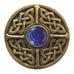 """Notting Hill - Notting Hill Celtic Jewel Blue Sodalite Knob, Antique Brass - Notting Hill Decorative Hardware creates distinctive, high-end decorative cabinet hardware. Our cabinet knobs and handles are hand-cast of solid fine pewter and bronze with a variety of finishes. Notting Hill's decorative kitchen hardware features classic designs with exceptional detail and craftsmanship. Our collections offer decorative knobs, pulls, bin pulls, hinge plates, cabinet backplates, and appliance pulls. Dimensions: 1-3/8"""" diameter"""