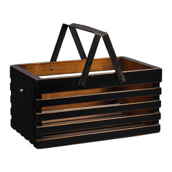 Antique Revival - Black Loire Fruit Bucket - This wooden, handcrafted caddy box is both the perfect accent piece and an attractive, sturdy way to store fruit on your kitchen counter. The rustic finish adds a country feel to your countertop and the black paint will blend well with a variety of decor themes. Newly made.