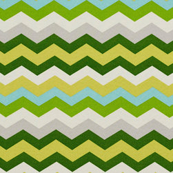 Green Yellow Grey and Blue Chevron Outdoor Indoor Upholstery Fabric By The Yard - This upholstery fabric suitable for indoor and outdoor applications. The fabric is water, soil, mildew and fading resistant. It is also Scotchgarded for further protection. It is cleanable with warm water and soap. Uniquely Made in America!