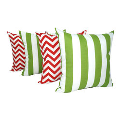 "Land of Pillows - Chevron Red and Vertical 2"" Stripe Bay Green Outdoor Throw Pillow - Set of 4, 20 - Fabric Designer - Premier Prints"