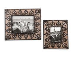 Uttermost - Abelardo Photo Frames, Set of 2 - Old-fashioned frames for your old-fashioned photos. Wrought iron detailing delightfully enhances this pair of natural fir frames.