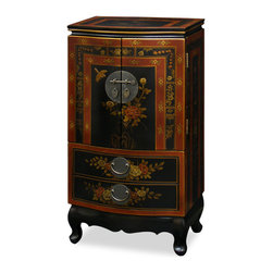 China Furniture and Arts - Hand Painted Tibetan Design Jewelry Armoire - This beautiful hand painted jewelry chest has a mirrored lift-top with two felt-lined trays for rings. Four drawers are revealed before you upon opening the double doors of this exquisite jewelry cabinet. The inside of the doors has a line of gold-plated hooks on each side to hang necklaces or other stringed articles. At bottom, two large drawers provide additional storage space. Hand painted Tibetan flower design. It has plenty of room to store jewelries or use it as a lingerie chest. All drawers are felt-lined. Solid brass hardware.