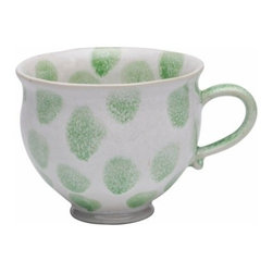 Casafina - Breakfast Mug, Green Spots - Organic shaped handmade Portuguese stoneware. Durable enough to be used everyday and beautiful enough to be used on special occasions.