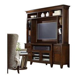 Hooker Furniture - Hooker Furniture Lorimer 78in Entertainment Console and Hutch in Brown - Hooker Furniture - TV Stands - 506555X86KIT - Lorimer Collection: Vibrant elements of style come together in Lorimer a collection that blends contemporary and clean design with a warm casual finish accentuated by soft breakfront shaped silhouettes and metal on selected pieces.