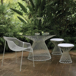 EMU Metal Mesh Glass Outdoor Dining Table - Whether formal or casual, in Florida or Maine, this set works! You can't go wrong with this for comfort and adaptability.