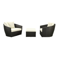 Modway Furniture - Modway Kindred 3 Piece Sofa Set in Espresso White - 3 Piece Sofa Set in Espresso White belongs to Kindred Collection by Modway Share a moment that will last a lifetime. The Kindred two armchair and ottoman set reminds us how to build lasting relationships. With its sloping arms and accelerated look, reach true understanding as the wings of conversation take flight. Kindred is comprised of UV resistant rattan, a powder-coated aluminum frame and all-weather cushions. The set is perfect for cafes, restaurants, patios, pool areas, hotels, resorts and other outdoor spaces. Set Includes: One - Kindred Lounge Chair (2), Ottoman (1)