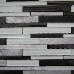 None - Cliffs Sticks Wall Tile Sheet (Pack of 10) - Achieve a sophisticated update in your home using the Cliffs Sticks glass and cut stone mosaic wall tiles. These wall tile sheets feature colors of black, mint and grey stone accents.