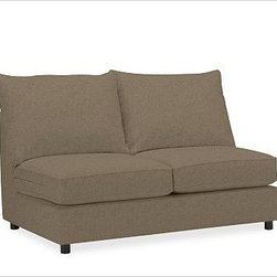 PB Comfort Square Arm Upholstered SectionalArmless Loveseat Knife-EdgeEverydaySu - Built by our own master upholsterers in the heart of North Carolina, this PB Comfort sectional is designed for unparalleled comfort with deep seats and three layers of padding. {{link path='pages/popups/PB-FG-Comfort-Square-Arm-4.html' class='popup' width='720' height='800'}}View the dimension diagram for more information{{/link}}. {{link path='pages/popups/PB-FG-Comfort-Square-Arm-6.html' class='popup' width='720' height='800'}}The fit & measuring guide should be read prior to placing your order{{/link}}. Choose polyester wrapped cushions for a tailored and neat look, or down-blend for a casual and relaxed look. Choice of knife-edged or box-style back cushions. Proudly made in America, {{link path='/stylehouse/videos/videos/pbq_v36_rel.html?cm_sp=Video_PIP-_-PBQUALITY-_-SUTTER_STREET' class='popup' width='950' height='300'}}view video{{/link}}. For shipping and return information, click on the shipping tab. When making your selection, see the Quick Ship and Special Order fabrics below. {{link path='pages/popups/PB-FG-Comfort-Square-Arm-7.html' class='popup' width='720' height='800'}} Additional fabrics not shown below can be seen here{{/link}}. Please call 1.888.779.5176 to place your order for these additional fabrics.