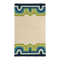 Trina Turk - Trina Turk Arcata Blue Hook Rug - The Trina Turk Arcata hook rug delivers a fresh, vibrant vibe. Rich with eclectic flair, this beige floor covering's geometric frame excites in energetic hues. Blue, aqua and navy; 3'W x 5'H; 100% wool and cotton; Dry clean only; Rug pad recommended