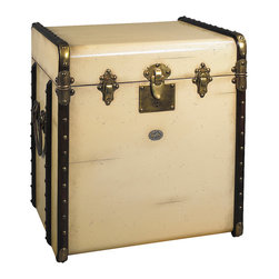 Authentic Models - Authentic Models MF079 Stateroom Trunk End Table, Ivory - Victorian luggage was made to ship by train, steamer, and horse drawn coach. Trunks were sent ahead and handled exclusively by porters. The classic maple hoops, strengthened by brass hardware and reinforced corners, protected the trunk and its contents from damage. The tall, square shape of our ��_End table trunk was designed to fit easily into tight cabins during extensive travel. Yet it was large enough to accommodate a tall, black stovepipe hat! Enjoy the flavor of a bygone age of luxury. Combine its fin-de-siecle appeal with the practicality of efficient storage.