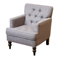 Great Deal Furniture - Medford Charcoal Grey Fabric Club Chair - The Medford Charcoal Grey Fabric Club Chair's tufted back, student accents and hand carded legs provide an elegant look for any room. With a Charcoal Grey fabric that matches your existing decor, you can relax in our Medford chair in any room.