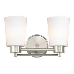 Design Classics Lighting - Modern Bathroom Light with White Glass in Satin Nickel Finish - 702-09 GL1027 - Contemporary / modern satin nickel 2-light bathroom light. Takes (2) 100-watt incandescent A19 bulb(s). Bulb(s) sold separately. UL listed. Damp location rated.