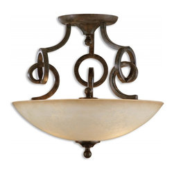 """Uttermost - 3 Light Semi Flush Mount Ceiling Light Fixture - The linear complexity of this design is unique and intriguing, yet somehow very simple with its own quiet elegance.  This collection can move easily from casual thru contemporary, and the classic shape of the Scavo glass softens and relaxes the effect to  Dimensions: 18.25""""H X 19.5""""Diameter; Lights: 3; Finish: Distressed Chestnut Brown with Heavily Frosted, Scavo Glass Globe; Bulbs: Uses Up To 60 Watt Bulbs (Not Included); Light Covers: Hand Made Glass; Weight: 19 lbs; UL Approved"""