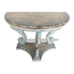 Koenig Collection - Old World Mediterraneran Sofa Table Romana, Distressed Turquoise - Romana Console, Distressed Turquoise with Scrolls