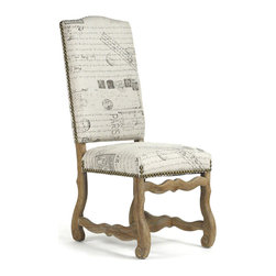 Kathy Kuo Home - Marcelle French Country Linen Script Camel Back Dining Chair - These French country dining chairs combine a classic European oak frame with vintage inspired cushion styling. Brass nail head trim adds shine to the seatback while a unique script pattern on the linen upholstery gives these chairs a sense of history. The natural fabric is printed with literary excerpts and postage insignia from Paris. (Bonus:  if your guests bore you, just start reading.)