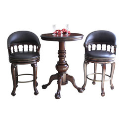 American Heritage - American Heritage Lothorio 3-Piece Pub Table Set w/ Giovanni Barstools in Suede - The Lothario pub table with the Giovvanni stool makes a statement in any home. The majestic high quality pub table with its intricately hand carving is very functional and offers a regal feel. It's heavy duty construction ensures this set will last a lifetime. The classic look of the Giovanni bar stool will enhance any gathering space. This hand-crafted piece features a wood frame finished in canyon and includes mortise and tenon construction for stability and durability. The full swivel, round, 3-inch cushioned seat, accented in nail head trim, the upprt portion of the backrest and modified armrests are upholstered in soft bonded roma leather giving comfort, elegance and style to this unique stool. Set includes pub table and 2 stools.