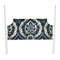 """Used Faux Bamboo Schumacher Headboard - A full size faux bamboo headboard, newly lacquered white. The headboard is upholstered in new blue and white Schumacher """"Abaza Resist"""" fabric in the indigo color way with double self-welt."""