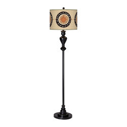 "Giclee Glow - Traditional Travelers Compass Giclee Glow Black Bronze Floor Lamp - Add a stylish and unique accent to your living space with this shapely floor lamp which is topped off with our patented Giclee shade. Warm light shines through illuminating the pattern and creating a truly distinctive look. U.S. Patent # 7347593. Metal construction. Black bronze finish with soft gold edging. Custom-printed Travelers Compass pattern Giclee Glow shade. Takes one maximum 150 watt bulb (not included). On/off rotary switch. 58"" high. Shade is 13"" wide 10"" high. 10"" diameter base.  Metal construction.  Black bronze finish with soft gold edging.  Custom-printed Travelers Compass patter Giclee Glow shade.  Takes one maximum 150 watt bulb (not included).  On/off rotary switch.  58"" high.  Shade is 13"" wide 10"" high.  10"" diameter base."
