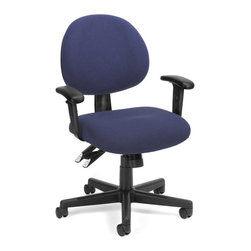 OFM - OFM 24-Hour Computer Task Chair with Arms in Blue - OFM - Office Chairs - 241AA202 - Get long-term comfort that fits you right with OFM's 241 Series 24-Hour/Multi-Shift Task Chair with Arms. Designed for 24-hour use this stylish chair includes 8 different adjustable Features: arm height seat height seat angle back height back angle tilt tension tilt lock synchro mech. Choose from a variety of attractive stain-resistant fabrics or from the Elements In-Stock Textile Upgrade Program. Meets or exceeds ANSI/BIFMA standards. Weight capacity up to 250 lbs.