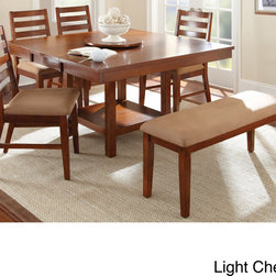None - Emery with Lazy Susan Dining Table Set - The Emery dining table set adds style and function to your dining area. Finished in either light cherry or walnut with golden highlights,the table features a sturdy pedestal base with a lower storage area,and comes complete with a removable Lazy Suzan.