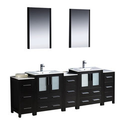 """Fresca - Fresca Torino 84"""" Modern Double Sink Bathroom Vanity, Espresso, Integrated Sinks - Fresca is pleased to usher in a new age of customization with the introduction of its Torino line. The frosted glass panels of the doors balance out the sleek and modern lines of Torino, making it fit perfectly in either 'Town' or 'Country' décor. Available in the rich finishes of Espresso, Glossy White, Walnut and Light Oak, and with either a ceramic vessel bowl or the option of a sleek modern ceramic integrated sink."""