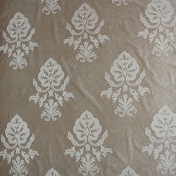 Crewel Fabric World by MDS - Crewel Fabric Konark White on Grey Cotton Velvet - Inspiration: Konark is a pattern inspired by a Sun Temple built in 1250 AD in the village of KonarkHistory: Konark was developed artisans in India The Konark Sun Temple takes the form of a huge chariot for the sun god Surya, with 12 pairs of stone-carved wheels and a team of seven galloping horses. The temple also symbolizes the passage of time, which is under the sun god's control. The seven horses, which pull the sun temple eastwards towards the dawn, represent the days of the week. The 12 pairs of wheels represent the 12 months of the year and the eight spokes in each wheel symbolize the eight ideal stages of a woman's day.Use: Konark Crewel Fabric is for you if you want a beautiful Damask Pattern inspired by a magnificent piece of a world historical site. Suitable for Upholstery and Drapery. It Enriches our Living by bringing a piece of history into our homes.