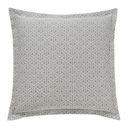 DwellStudio - Paloma Euro Sham Pair by DwellStudio - The DwellStudio Paloma Euro Sham Pair has a geometric, 3D pattern inspired by a stone floor in India. It is rendered in heirloom quality 400 thread count woven cotton jacquard, in a versatile smoke grey color palette. Use these two shams to finish off the sophisticated look established by the Paloma Duvet Cover. DwellStudio, founded in 1999 by Christiane Lemieux, specializes in home furnishings steeped in modern design. With a unique sense of color and a strong commitment to quality and innovation, DwellStudio continues to create its own distinctive interpretation of modern home furnishings. In the same creative spirit, the company encourages their customers to experiment with mixing various DwellStudio textile lines together.