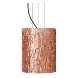 Besa Lighting - Besa Lighting 1KG-4006CS-LED Tamburo 1 Light LED Cable-Hung Pendant - Tamburo is a classic open-ended cylinder of handcrafted glass, a shape that will stand the test of time. Our Stone Copper Foil glass is a clear blown glass with an outer texture of coarse sandstone, with distressed metal foil hand applied to the inside. Inspired by the elements of nature, the appearance of the surface resembles the beautiful cut patterning of a rock formation. This blown glass is handcrafted by a skilled artisan, utilizing century-old techniques passed down from generation to generation. Each piece of this decor has its own artistic nature that can be individually appreciated. The cable pendant fixture is equipped with three (3) 10' silver aircraft cables and 10' AWM cordset, and a low profile flat monopoint canopy.Features: