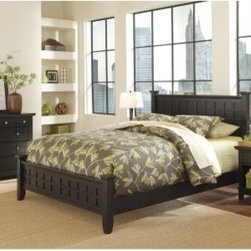 Arts and Crafts Queen Poster Bed - Black - Mission style at its finest the Arts and Crafts Poster Bed - Black is defined by its raised wood lattice moldings and strong lines. This bed is well-crafted of Asian hardwood solids and hardwood veneers in a black finish. Get a complete Arts and Crafts bedroom make-over by adding the optional matching headboard nightstand and chest. The headboard has the same detailed lattice moldings and squared posts that will make it the centerpiece of your room's design. The nightstand is a handy bedside companion with a drawer open storage and generous top. The chest offers four generous drawers for traditional clothing storage and more. Furniture Dimensions: Optional Queen Headboard: 64.25W x 4D x 48.5H in. Optional Nightstand: 18W x 16D x 24H in. Optional Chest: 36W x 16D x 36H in. About Home StylesHome Styles is a manufacturer and distributor of RTA (ready to assemble) furniture perfectly suited to today's lifestyles. Blending attractive design with modern functionality their furniture collections span many styles from timeless traditional to cutting-edge contemporary. The great difference between Home Styles and many other RTA furniture manufacturers is that Home Styles pieces feature hardwood construction and quality hardware that stand up to years of use. When shopping for convenient durable items for the home look to Home Styles. You'll appreciate the value.