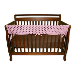 Trend Lab - Trend Lab Rail Cover - Long Maya Dot - 109083 - Shop for Crib Bumper Pads from Hayneedle.com! The Trend Lab Rail Cover - Long Maya Dot will dress up your baby's crib without compromising safety. Designed to wrap around the front rail of a convertible crib this lightly padded cover is made with 100% polyester percale fabric and features a fun polka dot pattern in pink and brown. A layer of waterproof mattress pad fabric on the underside prevents slobber from soaking through to the rail while the soft and durable fabric top protects the rail from teeth marks. It also adds a bit of comfort as you bend over the rail and lift your bundle of joy. Conveniently machine-washable this one-piece cover fits front crib rails measuring 9-18 inches around.About Trend LabBegun in 2001 in Minnesota Trend Lab is a privately held company proudly owned by women. Rapid growth in the past five years has put Trend Lab products on the shelves of major retailers and the company continues to develop thoroughly tested high-quality baby and children's bedding decor and other items. With mature professionals at the helm of this business Trend Lab continues to inspire and provide its customers with stylish products for little ones. From bedding to cribs and everything in between Trend Lab is the right choice for your children.