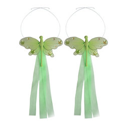 "Bugs-n-Blooms - Dragonfly Tie Backs Green Jewel Nylon Dragonflies Tieback Pair Set Decorations - Window Curtains Holder Holders Tie Backs to Decorate for a Baby Nursery Bedroom, Girls Room Wall Decor - 5""W x 4""H Jewel Curtain Tieback Set Dragonfly 2pc Pair - Beautiful window curtains tie backs for kids room decor, baby decoration, childrens decorations. Ideal for Baby Nursery Kids Bedroom Girls Room.  This gorgeous dragonfly tieback set is embellished with sequins and glitter.  This pretty dragonfly decoration is made with a soft bendable wire frame & have color match trails of organza ribbons.  Has 2 adjustable wires to wrap around the curtains; or simply remove & add your own ribbon for a personal & custom look.  Visit our store for more great items. Additional styles are available in various colors, please see store for details. Please visit our store on 'How To Hang' for tips and suggestions. Please note: Sizes are approximate and are handmade and variances may occur. Price is for one pair (2 piece)"