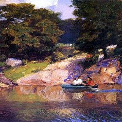 """Edward Potthast Boating in Central Park - 18"""" x 24"""" Premium Archival Print - 18"""" x 24"""" Edward Potthast Boating in Central Park premium archival print reproduced to meet museum quality standards. Our museum quality archival prints are produced using high-precision print technology for a more accurate reproduction printed on high quality, heavyweight matte presentation paper with fade-resistant, archival inks. Our progressive business model allows us to offer works of art to you at the best wholesale pricing, significantly less than art gallery prices, affordable to all. This line of artwork is produced with extra white border space (if you choose to have it framed, for your framer to work with to frame properly or utilize a larger mat and/or frame).  We present a comprehensive collection of exceptional art reproductions byEdward Potthast."""