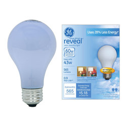 63008 – 53A/W/RVL/H-2PK GE energy-efficient reveal® 53 watt A19 2-pack - •GE energy-efficient reveal® bulbs fill rooms with clean, beautiful light® while using 28% less energy than regular incandescent Reveal® bulbs. Like regular incandescent reveal® bulbs, GE energy-efficient reveal® bulbs filters out dull, yellow rays, bringing out colors and patterns that go unnoticed under regular incandescent light. The halogen technology inside delivers outstanding energy efficiency, helping save money on energy. Use general purpose color-enhanced full-spectrum GE energy-efficient reveal® bulbs in table lamps, floor lamps, enclosed ceiling fixtures and closet lights to make colors and patterns pop.
