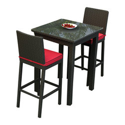 Forever Patio - Barbados 3 Piece Outdoor Wicker Bar Set, Flagship Ruby Cushions - Dress up your patio or deck with this contemporary wicker set. Then bring them inside when the weather changes and you want a little splash of color and excitement in your space. Inside or outside this grown-up bar set doubles as an intimate dining table.