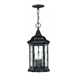 Hinkley Lighting - 1722BG Regal Outdoor Hanging Lantern, Black Granite, Water Seedy Glass - Traditional Outdoor Hanging Lantern in Black Granite with Water Seedy glass from the Regal Collection by Hinkley Lighting.