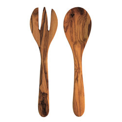 Be Home - Olive Wood Round Serving Set - There's much to admire about these olive wood utensils — durability and density, beautiful grain and texture, and the way the colors become richer with use. You'll also appreciate how the trees are ecologically harvested, making olive wood a sustainable resource.