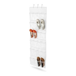 24 Pocket Over-Door  Shoe Organizer, Polyester, White - 21inx57in; white polyester with clear vinyl; 30 piece carton (50x48x32cm)