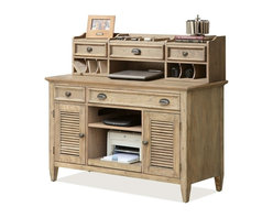 Riverside Furniture - Credenza Desk with Small Hutch - Dovetail drawer construction.