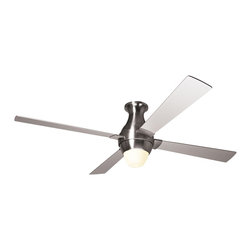 """Modern Fan - Contemporary 56"""" Modern Fan Gusto Nickel Hugger Ceiling Fan and Light Kit - Part of the Gusto collection from the Modern Fan Company this stylish 56"""" blade span ceiling fan features four nickel finish blades and a nickel finish motor housing. A white glass light kit offers illumination. 56"""" blade span. Nickel finish motor housing. Nickel finish blades. Includes one 75 watt G9 halogen bulb. Includes a 3-speed wall/remote control. Limited lifetime motor warranty. (UM)  Bright nickel motor finish.  Nickel finish blades.  Hugger style.  Limited lifetime motor warranty.  White glasslight kit.  Includes one 75 watt halogen bulb.  Includes 3-speed wall control and hand-held remote system.  Fan height is 15 1/2"""" ceiling to bottom of light kit.  56"""" blade span."""