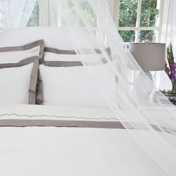 400 Thread Count  Hotel Collection Border Bedding  Duvet, The Linden Gray - Sophisticated, crisp and white with soft gray borders make this duvet a dynamic neutral. 400 thread count and hidden zipper closures add the finishing details.
