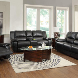 Lee Black Reclining 3 PC Sofa Set (Sofa, Love Seat and Recliner) -