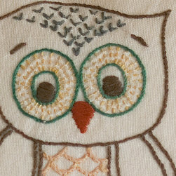 Taylor Linens - Owl Pillow - Who could resist these adorable little creatures? Perfect for the baby's room (or a baby shower), they are embroidered on a 10-inch pillow backed with a yellow print fabric. Comes complete with a long-lasting, non-allergenic cluster fiber insert.