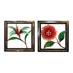 ecWorld - Urban Designs Handcrafted 2-Piece Set Artisan Metal Wall Art - Tropical Flowers - For a twist on floral decor, add this metal wall art set to a room.  A handcrafted array of flowers with colorful finishes and an oil-rubbed bronze finish frame. This wall art arrives ready to hang