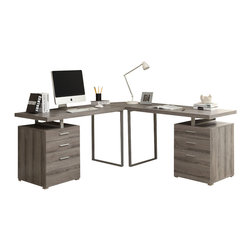 Monarch Specialties - Monarch Specialties I 7326-3 Dark Taupe Reclaimed-Look 3 Piece Desk Set - Creating a striking look to your home office. This simple yet practical dark taupe reclaimed-look finish hollow-core 3pc desk set is the perfect addition to your home office. With the addition of the wedge corner unit between the desk, it helps to create space for a more generous work station. The mobile side drawers provide you with space to store office supplies, papers, books, files folders, and plenty more. Use the spacious table top for your computer, a lamp and even some pictures. Desk (2), Corner Wedge (1)