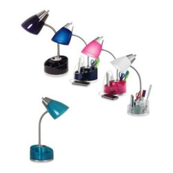 Evolution Lighting Llc/import Div. - Equip Your Space Organizer Desk Lamp - Organize your workspace while illuminating your desktop. This organizer lamp provides storage on a 360° swivel base for pens, pencils, scissors, paper clips and more while providing an attractive light source for desks and work spaces