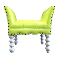 Pre-owned Contemporary Faux Leather Stool - Studded, tufted and neon may just be our new favorite combination! This contemporary faux leather stool features a white lacquered frame. This contemporary piece will add a pop of color and eye catching interest to any room. It is brand new as it was only used previously on the set of a T.V. show.