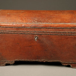 Antique Coffers - Nice small French leather trunk studded with brass nails, circa 1850.