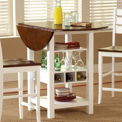 Sunset Trading - Sunset Trading Cascade Cream & Espresso Pub Table - CR-A7007-68 - Shop for Bar and Pub Tables from Hayneedle.com! With its fold-down ends and convenient open storage frame the Sunset Trading Cascade Cream & Espresso Pub Table offers exceptional versatility and enchanting style for today s country kitchens and dining areas. Whether it s used as a pub table or kitchen display and storage piece this beautiful hardwood furnishing is sure to enrich your decor with its multi-purpose shelves wine storage and contrasting cream and espresso finish.About Sunset TradingThis product is designed and manufactured by Sunset Trading. Located in Londonderry New Hampshire Sunset Trading creates high quality furniture for bedrooms living and dining rooms. Their furniture features side roller drawer guides four corner English dovetails solids and veneers. Dining rooms feature epoxy resin constructed chairs with metal support brackets which make their chairs 100 times stronger than glued chairs. Rest assured you're making an excellent choice when you purchase a fine furniture item from Sunset Trading.