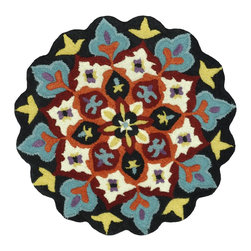 Loloi Rugs - Loloi Rugs Gardenia Collection - Black / Ivory, 3' Round - Like a vase of flowers in full boom, Gardenia adds a little pop of color that brings life to your entire home. Hand-tufted in India of 100% wool, Gardenia comes in lovely, easy-to-place 3 foot round rugs with cute shaped borders - perfect for refreshing the kitchen, entryway, bedroom, bathroom, or just any area in need of a colorful pick-me-up.